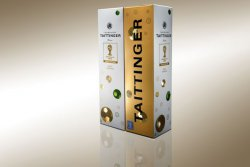 For the football World Cup Taittinger has created an elegant gift carton made of Incada from Iggesund Paperboard and decorated with holographic footballs. &copy; Iggesund<br /><br /> (photo: Rolf Lavergren, Bildbolaget)