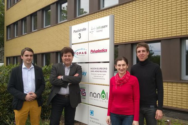 The company has sales offices in Finland, Germany (above) and Russia. Patrik Strand, Eduard Albrecht, Inna Kravchenko, and Alexander Hild.© Ab Nanol Technologies Oy