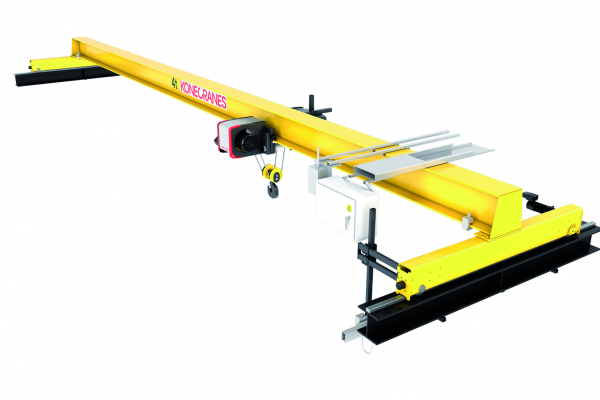 <p>Single-girder crane with low headroom trolley up to 12.5 tons and normal headroom trolleys up to 40 tons. © Konecranes</p>