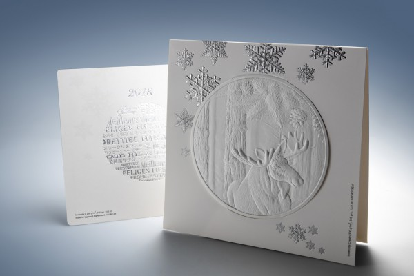 <p>Caption: The highlight of the Iggesund Christmas card is a deep, blind embossing of a moose.</p>