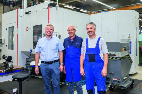 <p> Axel Spadinger, Head of Tool Engineering & Making, Hans Brühl, Part Production and Tooling Technician, and Günter Schulz, machine operator, all from the tool and mould making division of WMF Group GmbH in Geislingen/Steige                   </p>