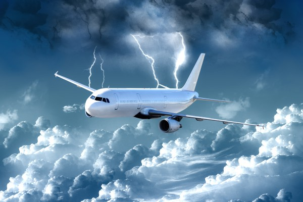 <p>Caption:Commercial airliner in hazardous weather</p>