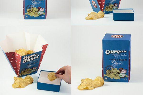 <p>Jessica Bergdahl, Moa Ahlström, and Linnea Löfgren, first-year students at Nackademin in Stockholm, won for their tri-function crisps packaging. ©Iggesund<br /><br /></p>